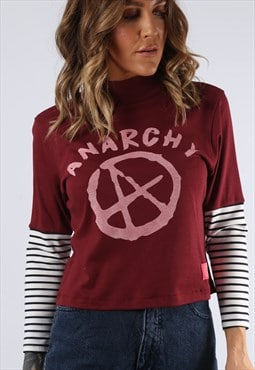 Cropped Turtle Neck Top Striped BICH Anarchy Print  (G9DQ)