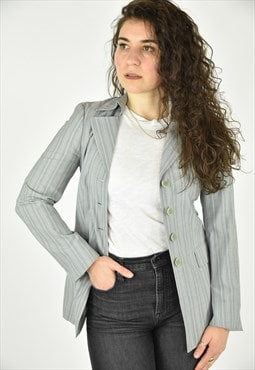 Vintage 90's Zanella Grey Striped Blazer Size 4