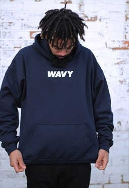 RESTOCK - WAVY Navy Blue Retro Fit Hoodie
