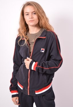 Vintage Fila Tracksuit Top Jacket Black