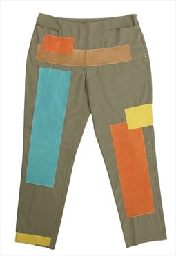 Vintage Fendi 80s khaki trousers with colorful leather patch