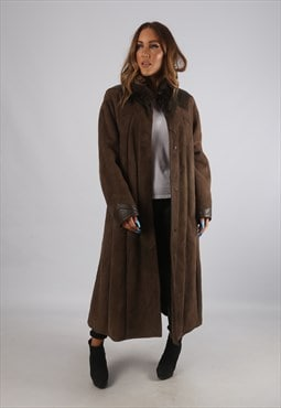 Vintage Sheepskin Suede Shearling Coat Long UK 16 XL (K94E)