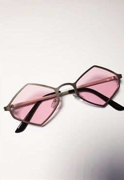 Silver Hexagon Sunglasses with Pink Tinted Lenses