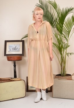 Vintage 80s Sheer Waisted Midi Dress Cream