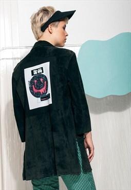 Happy dot jpg reworked suede jacket - Leather jacket w patch