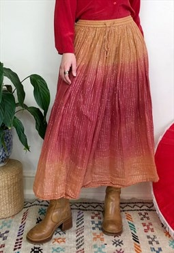 Vintage 90s red & orange hippy cotton maxi skirt
