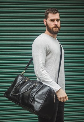 PREMIUM BLACK LEATHER TRAVELLER'S HOLDALL / DUFFLE BAG