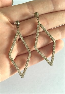 Womens Vintage 90s earrings silver tone gem dangly earrings