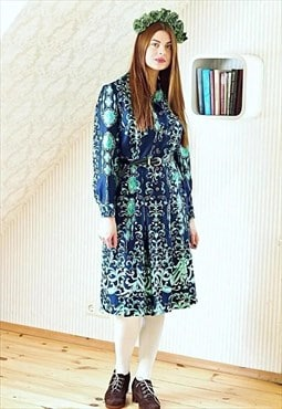 Navy and green floral shirt style belted vintage dress