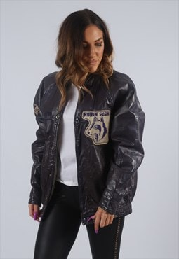 Vintage VARSITY Leather Jacket Oversized Bomber 14 - 16 (K2N