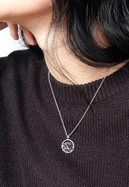 Lotus Chain Necklace Women Sterling Silver Necklace