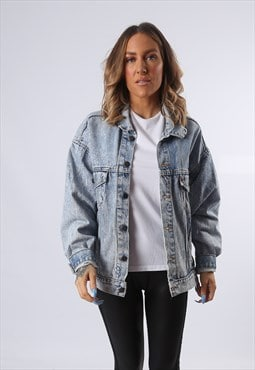 LEVIS Denim Jacket ACID WASH Oversized Fitted 16 - 18 (E54G)