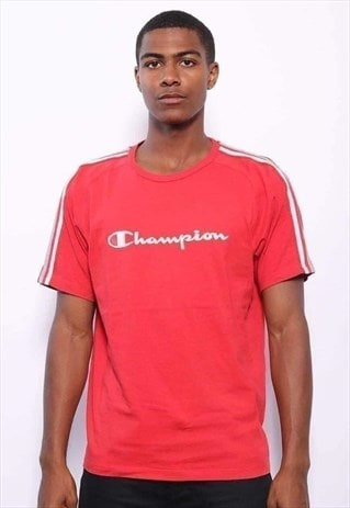 Vintage Champion Big Logo Spellout T-Shirt Red