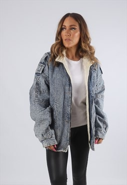 Vintage Sherpa Denim Bomber Jacket Oversized Acid Wash (H4B)