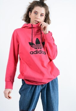 Adidas Hoodie with spell out logo in pink.