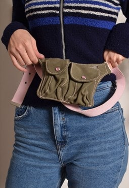 Vintage 90s Bum Bag Fanny Pack in Green Khaki Pink Canvas