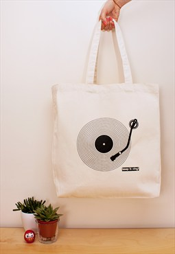 Keep It Vinyl Tote Cotton Canvas Shopper Bag Eco Friendly LP