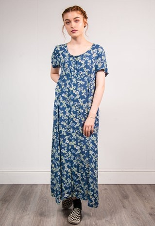 90'S VINTAGE CUTE BLUE FLORAL PATTERN MAXI SUMMER DRESS