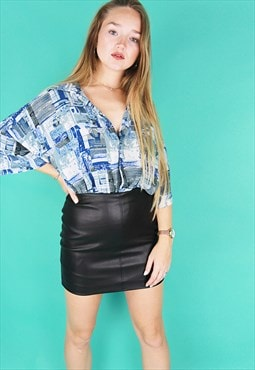 Blue & White Abstract Print Oversized Short Sleeved Shirt