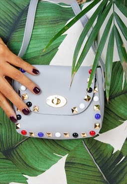 Grey Multi Colour Studded Mini Cross Body Bag
