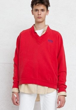 Vintage Red HUGO BOSS V-Neck Pullover Sweatshirt