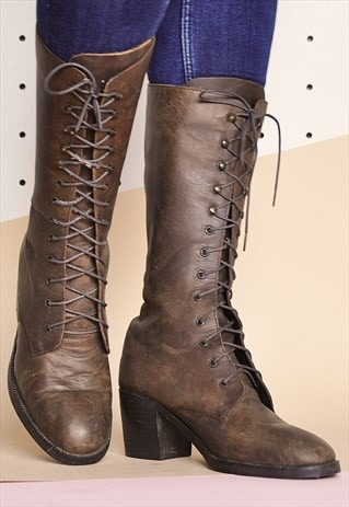 90S FAUX LEATHER BOOTS