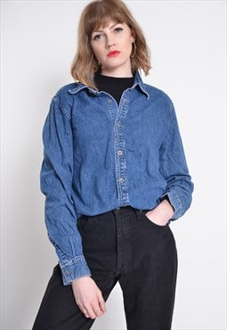 Vintage Calvin Klein Denim Shirt Blue