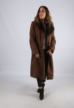 Vintage Sheepskin Suede Shearling Coat Long UK L 14 (LJ2G)