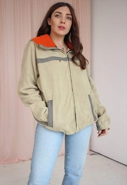 Vintage 90s Tommy Hilfiger Zip Fleece in Beige