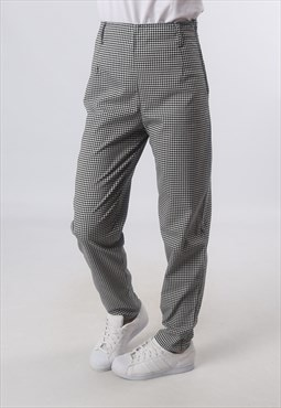 High Waisted Trousers Checked Tapered Leg UK 10  (G72C)