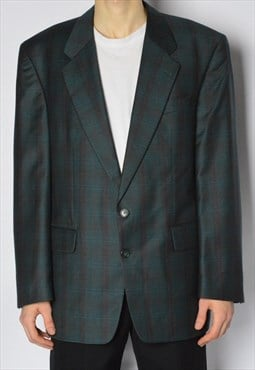 Vintage 90s Faded Green Burgundy Check Wool Blazer