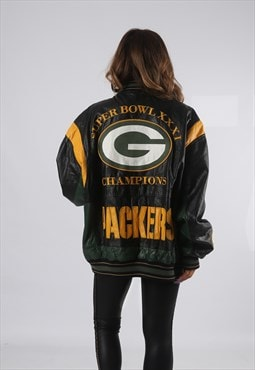 Leather Bomber Jacket Football Oversized Varsity 9D4N