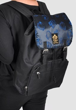 Blue on blue roses laptop backpack