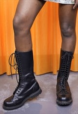 Vintage 90s Chunky Leather Boots Lace Up High Top Punk