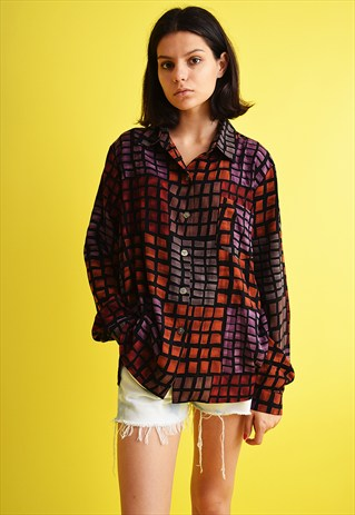 90'S RETRO MOD CHECKED OVERSIZED SHIRT TOP