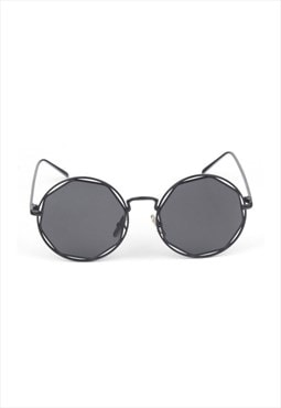 Nadine Circle Wire Sunglasses Black