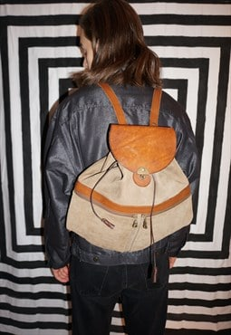 Vintage 80's Suede / Leather Trim Back / Ruck Sack