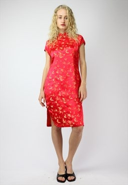 Y2K Rave  Cheongsam Dress in Red