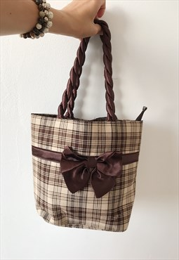 Vintage Y2K 00s tartan checked plaid ribbon hand bag tote