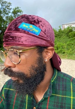 Vintage feel burgundy velvet durag 4 the wavers or head wrap