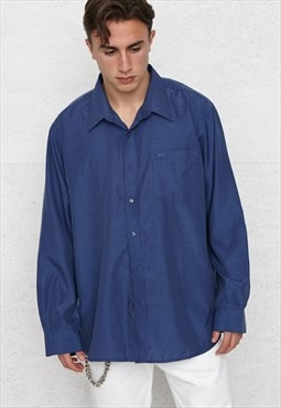 Vintage Blue BOSS Long Sleeve Shirt