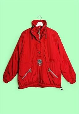 SPORTALM Kitzbuhel Anorak Retro Shiny Red Winter Ski Jacket