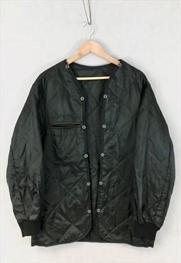 Vintage Y2K Quilted Jacket Army Liner Padded Black