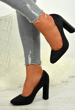 Ladies Block Heel Court Pumps Glitter Black Shoes