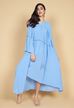 Annabel Crinkle Chiffon Ruffle Maxi Dress in Blue