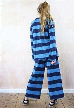 Blue on Blue Striped Crop Pants & Jumper Co-Ordinates