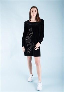 Vintage VELVET Festival Dress with Embroidered Detail Black
