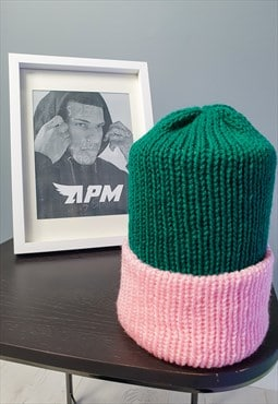 APM Handmade Reversible Pink and Green Wooly Beanie Hat