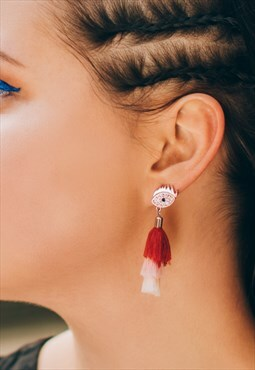 Lucky eye festival tassel earrings