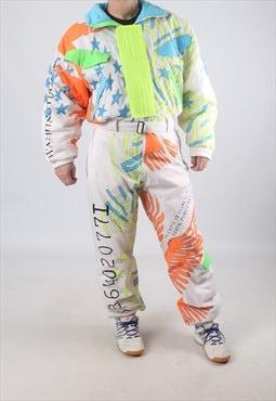 """Vintage Full Ski Suit Snow NEON M / L  42"""" (9DK)"""